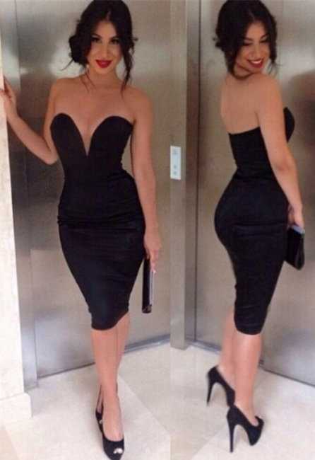 Black Prom Dresses  Sweetheart Sleeveless Sheath Knee Length Sexy Satin  Simple Evening Gowns BA7373