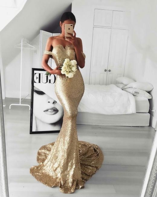 Off-the Shoulder Mermaid Gold Sequins Prom Dress Online