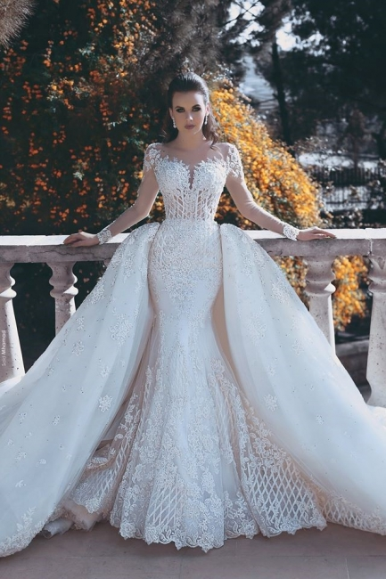 Long Sleeve Lace Appliques Mermaid Wedding Dress  Overskirt Long Train Bride Dress WE0199