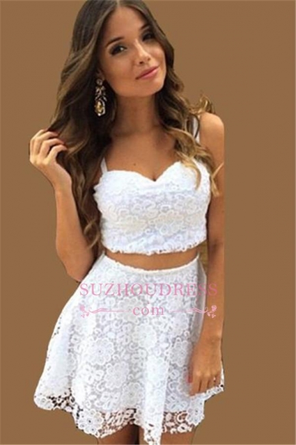 A-line White Lace Formal Dress  Top Short Two Piece Summer Women Dress