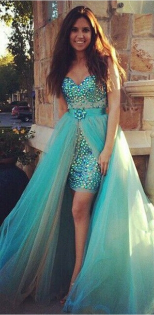 Cute Sweetheart Crystal  Evening Gown New Arrival Detachable Tulle Prom Dress