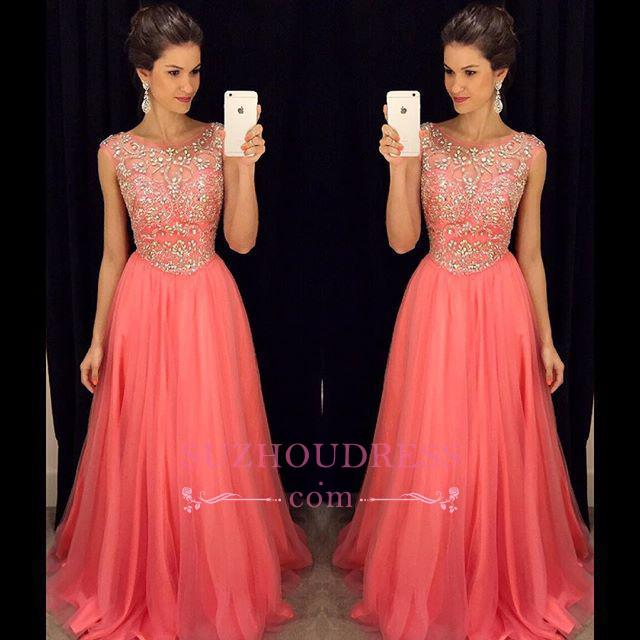 Tulle Sleeveless Crystal A-Line Popular Scoop Prom Dress  GA072 BA4795