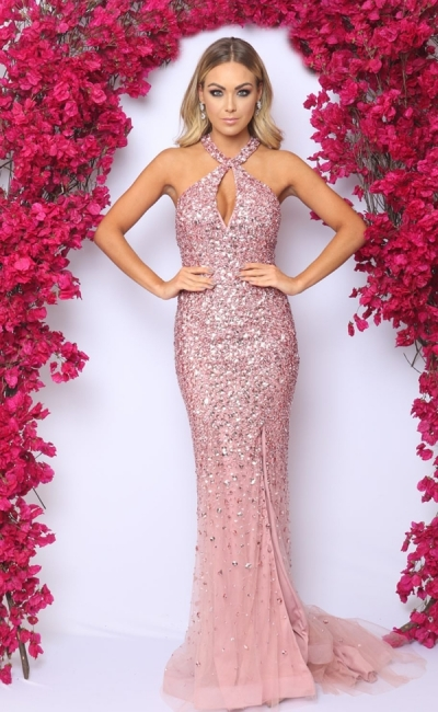 Fantastic Pink Halter Beadings Mermaid Prom Dress Sparkly Crystals Side Slit Formal Dresses On Sale