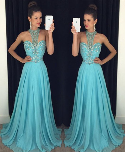 A-Line Crystal Halter Ruffles Evening Dress Chiffon Sweep Train  Prom Dress