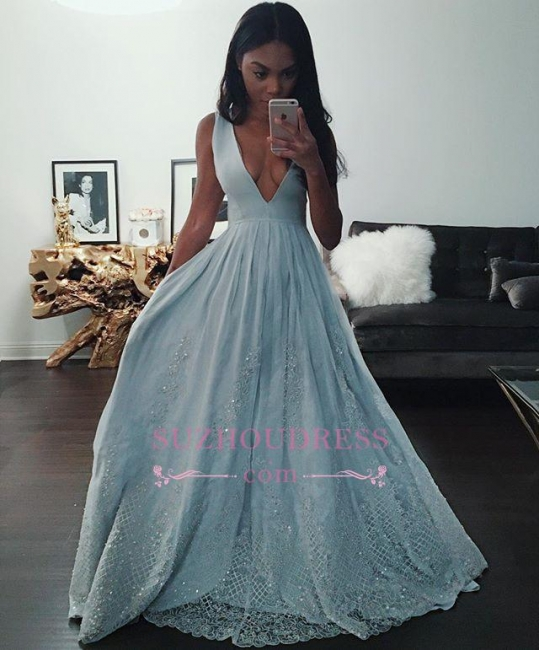 Lace Sleeveless Evening Gown Pretty Beading V-neck Baby Blue Prom Dress