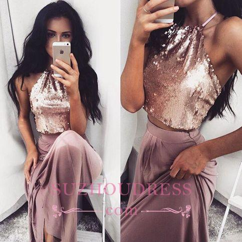 Two-Piece Sleeveless Long Halter-Neck Glossy Sequins Prom Dresses BA4434