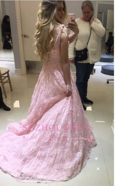 Pink Lace Long V-neck Evening Dresses |  Fashion Sheer A-line Prom Dress
