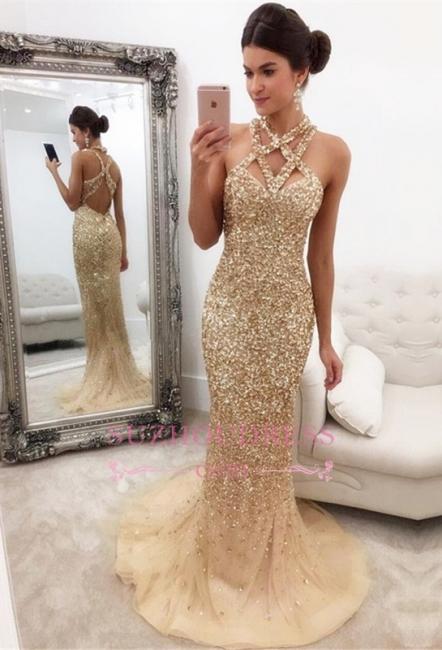 Gorgeous Sleeveless Zipper-Back Halter Mermaid Crystals Prom Dress SP0389