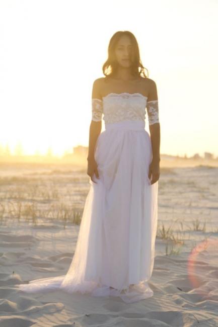 Bateau Short Sleeve White Chiffon Wedding Dress Latest Simple Lace Summer Beach Bridal Gowns