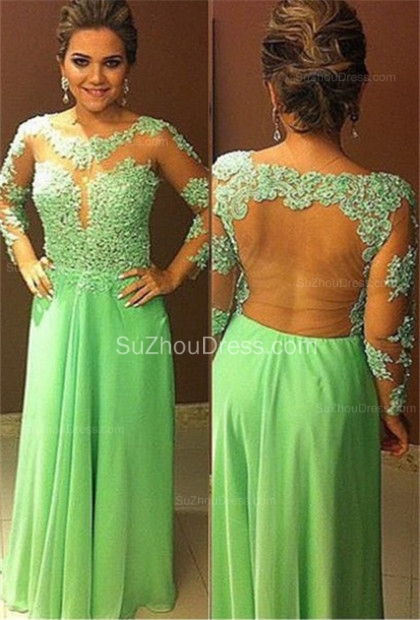 A-Line Scoop Chiffon Evening Dresses  Long Sleeve Appliques Prom Gowns