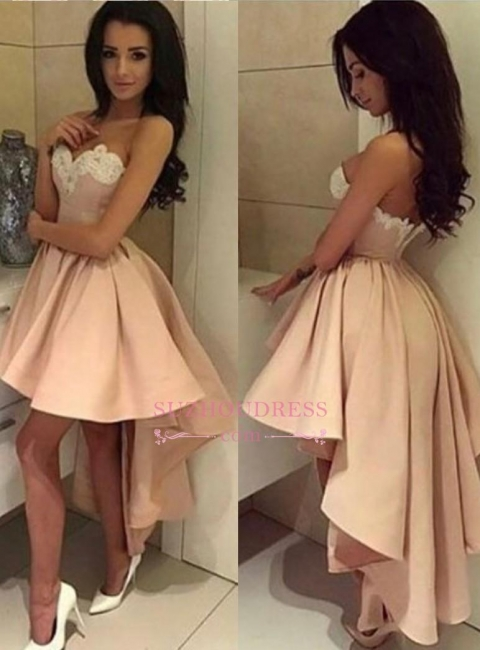 High Front Low Back Party Dress Sweetheart Modern High-low Lace  Homecoming Dress BA6125