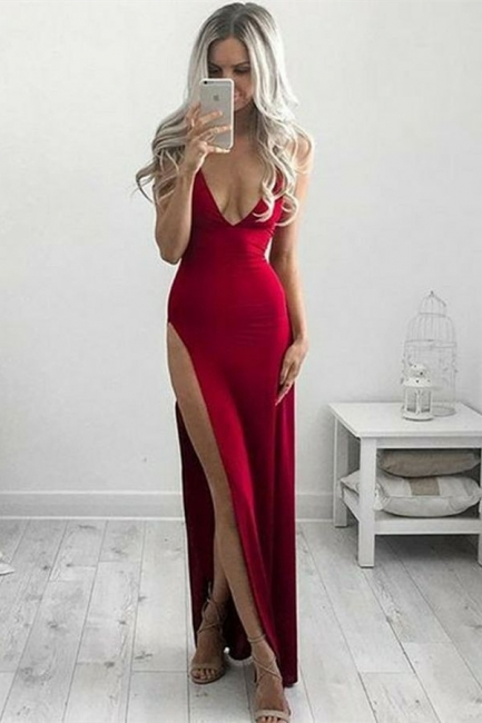Deep V-neck Sleeveless  Formal Dresses |  Side Slit Sexy Evening Gown Online