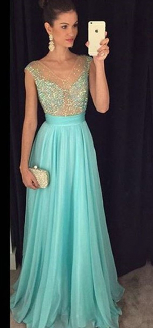 Crystal V-Neck Sleeveless  Prom Dresses New Arrival A-Line Natural Party Gowns