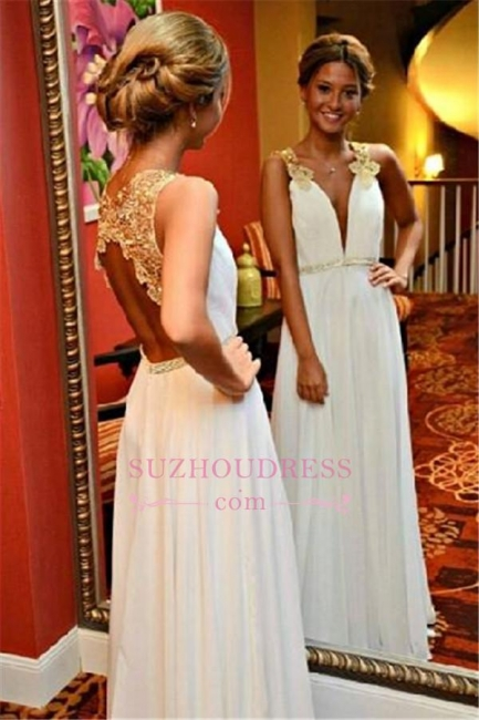 Sleeveless A-Line Beadings White Open-Back Appliques V-Neck Prom Dress