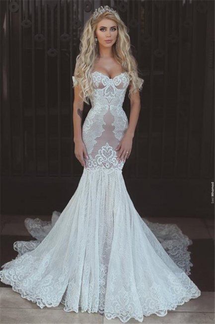 Sexy Mermaid Lace Off-the-Shoulder Wedding Dresses  Open Back Bridal Gowns BA7275