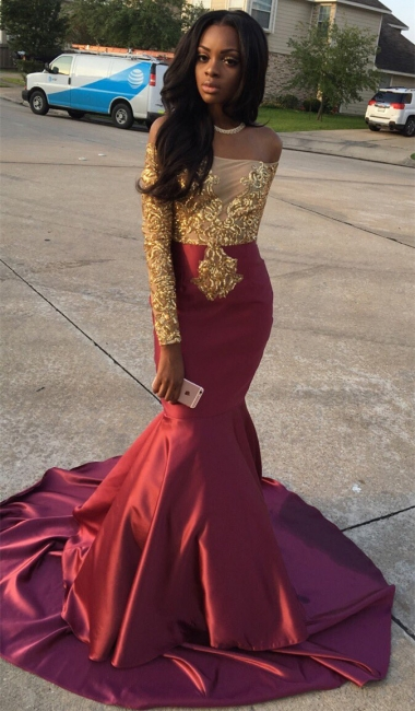 Gold Lace Appliques Off The Shoulder Evening Gowns Long Sleeve Mermaid  Prom Dress CE0071