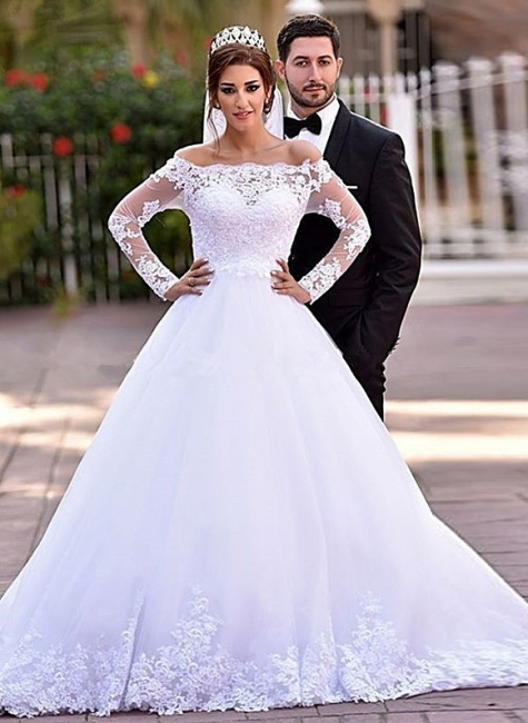 Lace Long Sleeve  Wedding Dresses Off-the-shoulder A-line Bridal Gowns