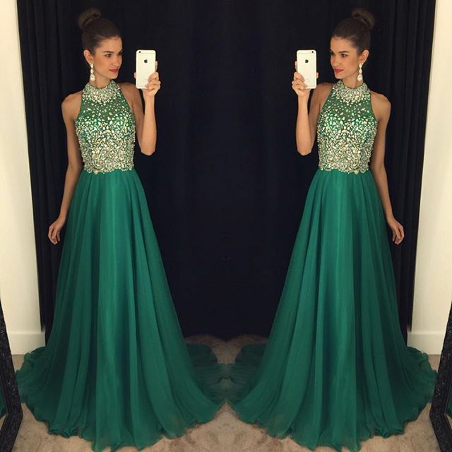New Arrival Beading A-Line  Prom Dress Crystal Sleeveless Evening Gown
