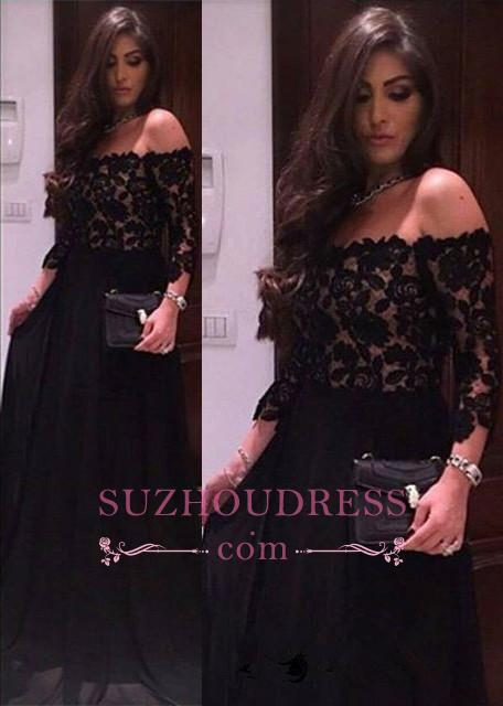 Black Lace A-line Off The Shoulder Evening Dresses  Sleeves  Prom Dress