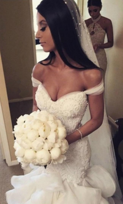 Sexy Mermaid Tiered  Wedding Dress Off the Shoulder Beading Long Bridal Gown