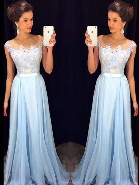 Elegant Chiffon Lace Applique Prom Dress Latest A-line Custom Made Evening Gown GA036