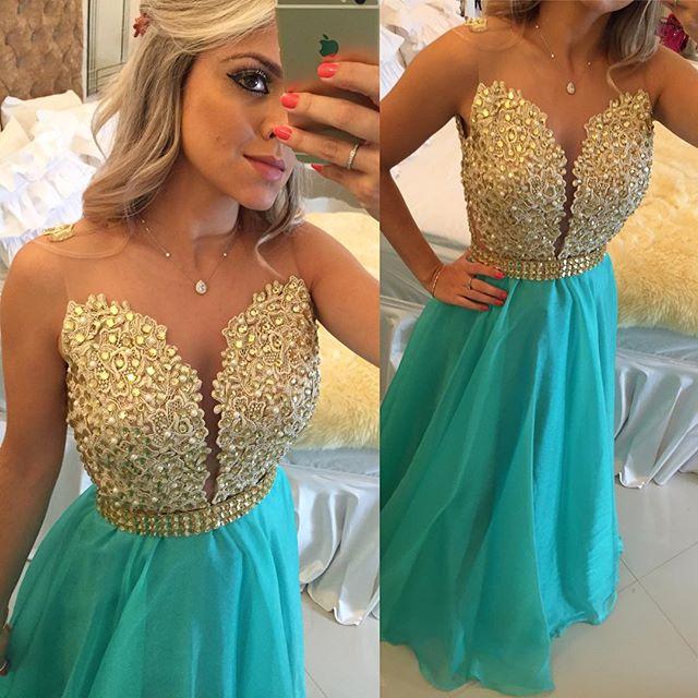 Latest A-Line Crystal Evening Gown Sleeveless Floor Length Prom Dress