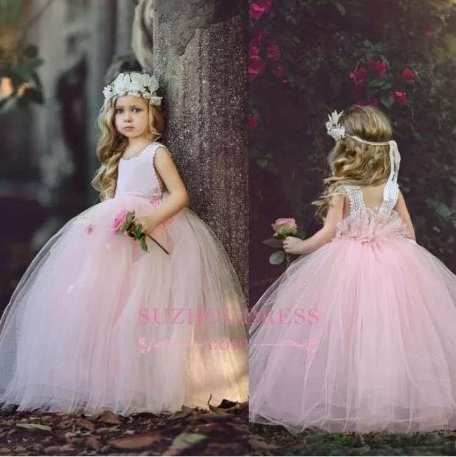 Ball-Gown Long Pink Cute Flower Girl Dresses BA6882