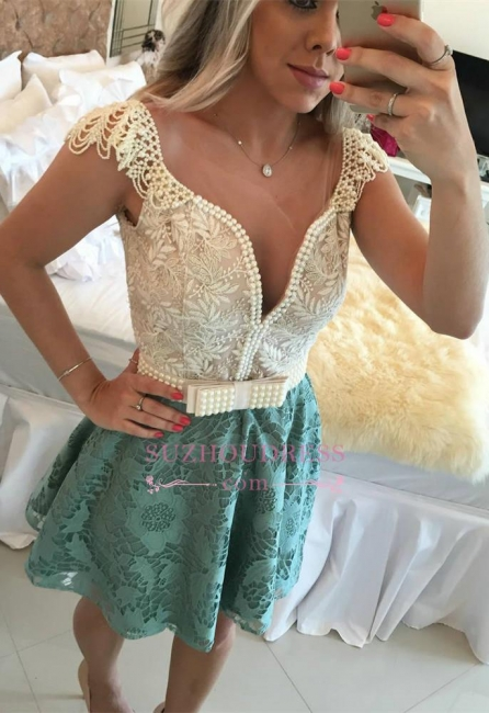 A-Line Backless Beaded Lace Short Cap Sleeves Homecoming Dresses