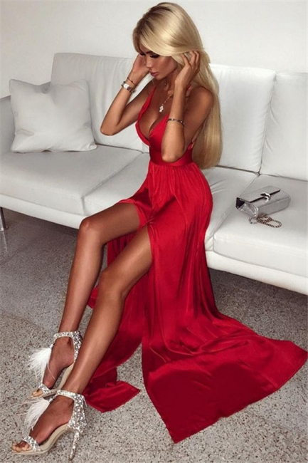 Deep V-neck Front Slit Sexy Formal Dresses  Sleeveless Red Long Sexy Ball Dress