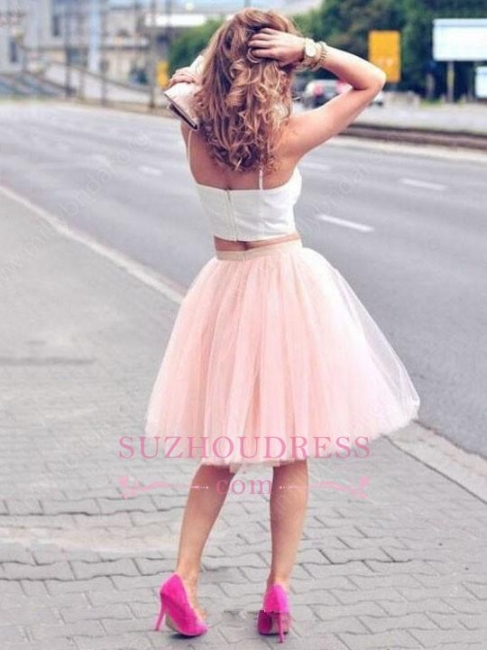 Pink Spaghetti Strap Formal Dress  Tulle White Sexy Sleeveless Two Piece Homecoming Dress