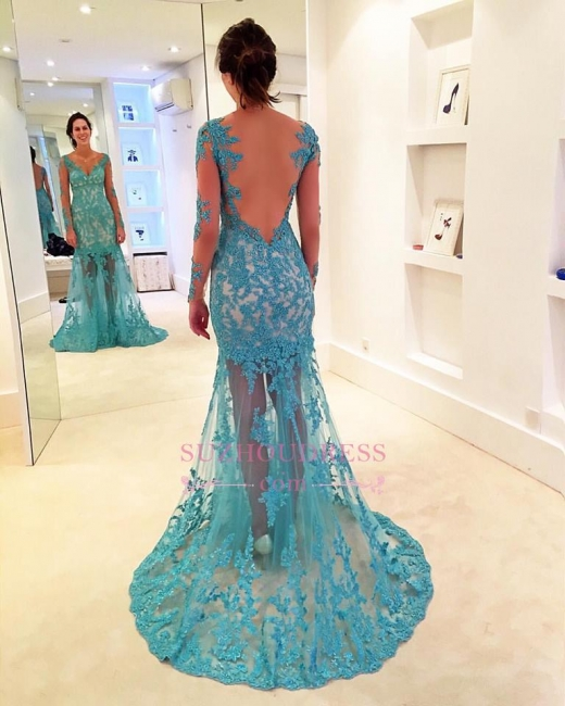 Mermaid Delicate Sweep-Strap V-neck Long-Sleeve Lace Prom Dress