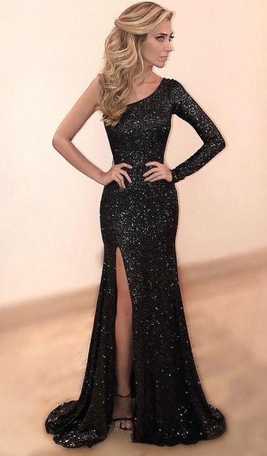 One Sleeve Black Sequins Sparkle Evening Dresses  Sexy Split Formal Dress