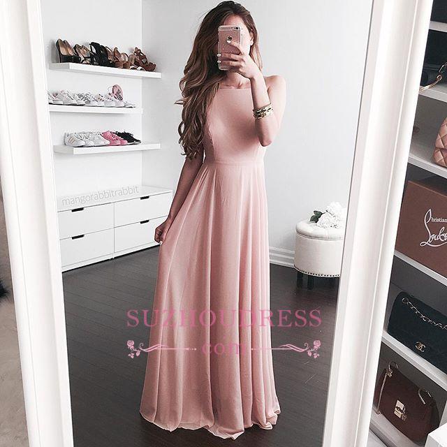Pink A-line Sleeveless Evening Dress  Elegant Floor-length Jewel Prom Dress