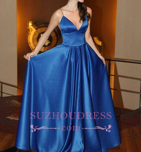 V-neck Simple A-line Spaghettis-Straps Shiny Blue Prom Dresses
