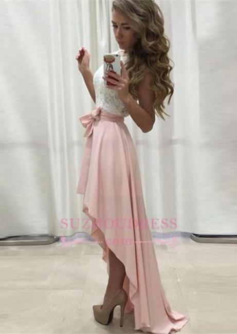 Lace Newest Straps Chiffon Hi-Lo Sleeveless A-line Prom Dress