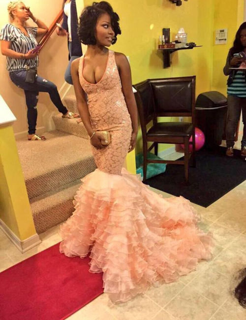 Coral Pink Mermaid Evening Dresses Ruffles Organza  Prom Dresses  AE0011