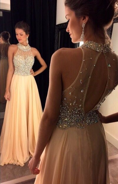 High Collar A-line Chiffon Beading Prom Dress New Arrival Open Back Evening Gown GA030a