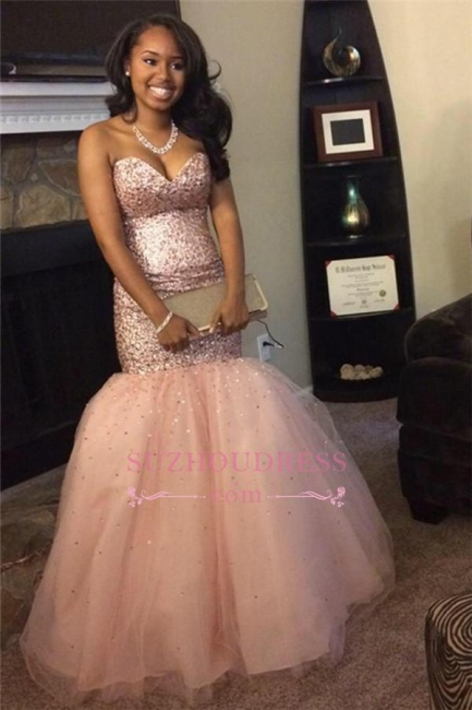 Sequins Mermaid Sweetheart Gorgeous Pink Sleeveless Tulle Prom Dresses JJ0120