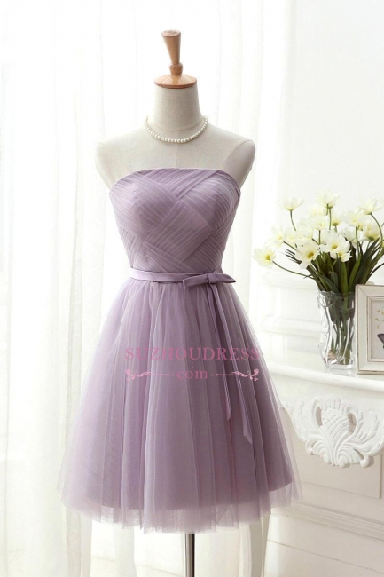 Ruched-Top Short with Strapless Romantic Belt Homecoming Dresses