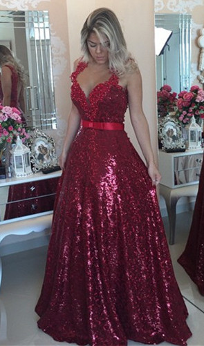 Red Sequined Lace Beading Prom Dress Popular Open Back Plus Size Evening Dresses for Women BMT022