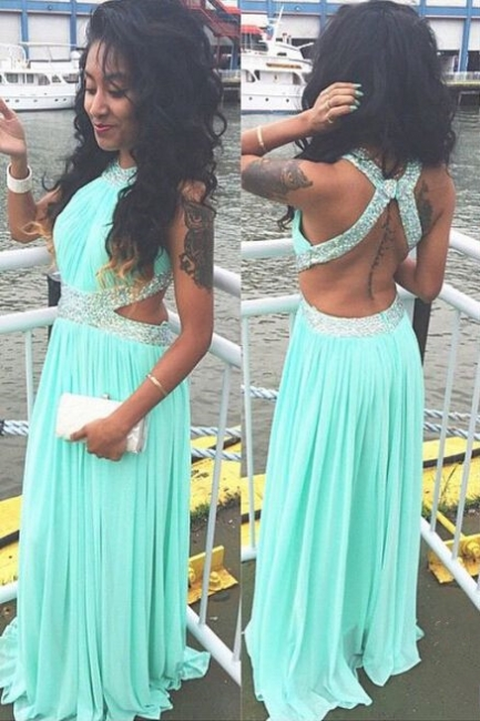 A-Line Green Chiffon Long Prom Dress with Beadings New Arrival Halter Open Back Evening Dress