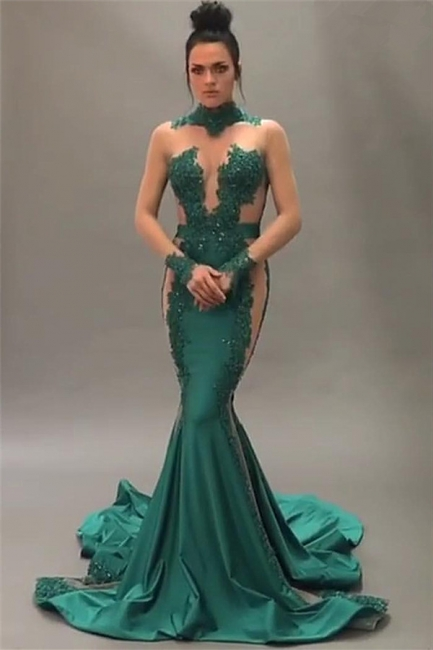 Nude Tulle Beaded Lace Sexy Prom Dresses |  Long Sleeve Green  Evening Gown