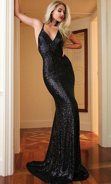 V-neck Black Sequins Evening Dresses Sexy Long Cross Open Back Straps Prom Dresses  BA3400