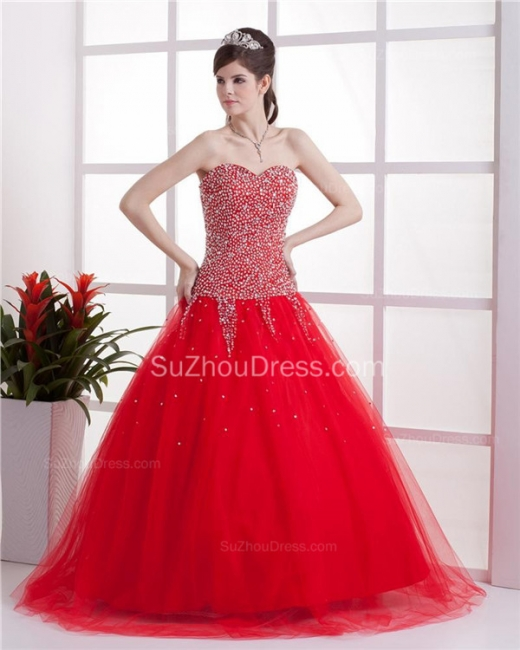 Red Sweetheart Quinceanera Dresses  Sequins Beading  Floor Length Lace-up Tulle Sleeveless Prom Dresses