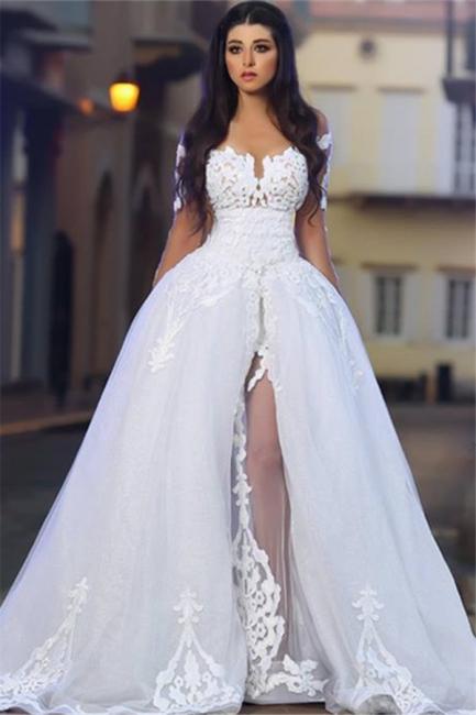 White A-Line Elegant  Bride Dress Appliques Tulle Long Sleeves Wedding Dresss BA4426