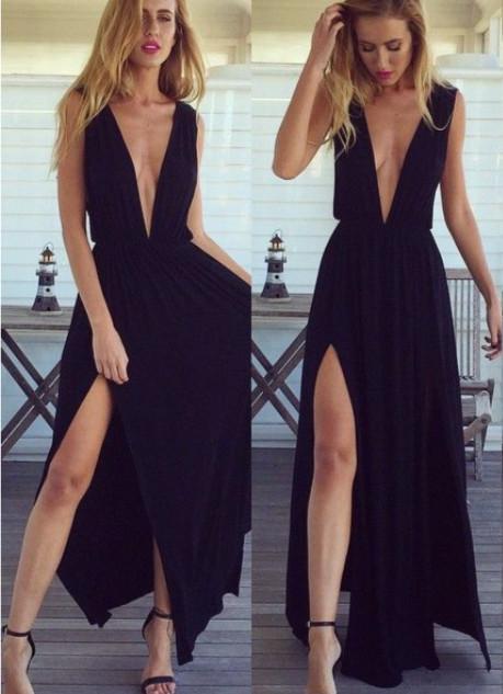 Black Chiffon  Summer Party Dresses Deep V-neck Prom Dress