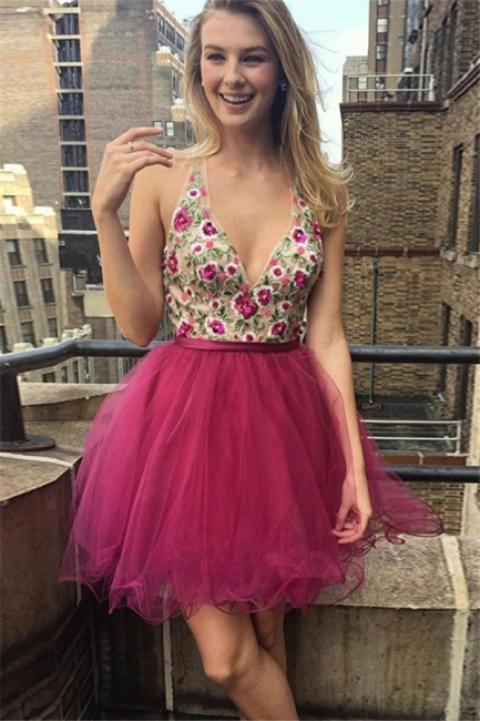 Glamorous Short V-Neck Homecoming Dresses | Sleeveless Open Back Flowers Hoco Dress