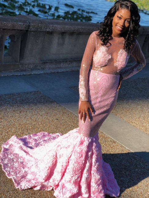 Long Sleeve See Through Beads Pink Prom Dresses |  Sexy Flowers Mermaid Shiny Evening Gown