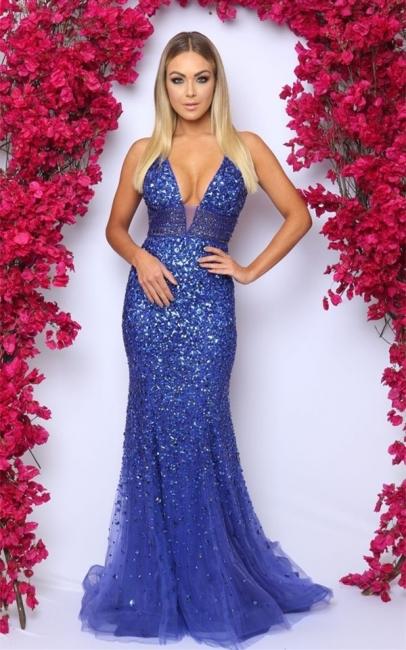 Glamorous V-Neck Sleeveless Rhinestones Prom Dress Royal Blue Crystals Evening Dresses On Sale
