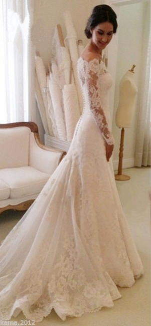 White Off-the-shoulder Lace Long Sleeve Bridal Gowns Sheath  Simple Custom Made Wedding Dresses